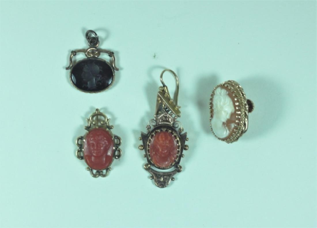 (4)Pc Victorian 14K Gemstone & Coral Cameo Jewelry