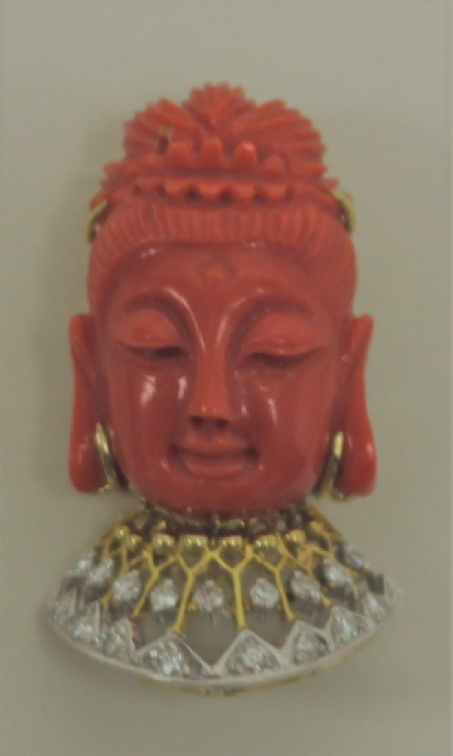 14K Gold Diamond & Red Coral Buddha Pendant Pin