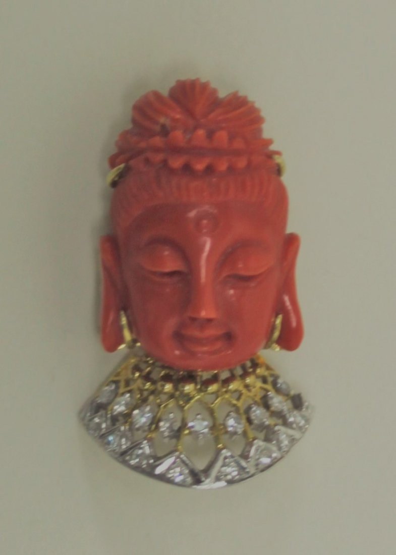 14K Gold Diamond & Red Coral Buddha Pendant Pin - 2