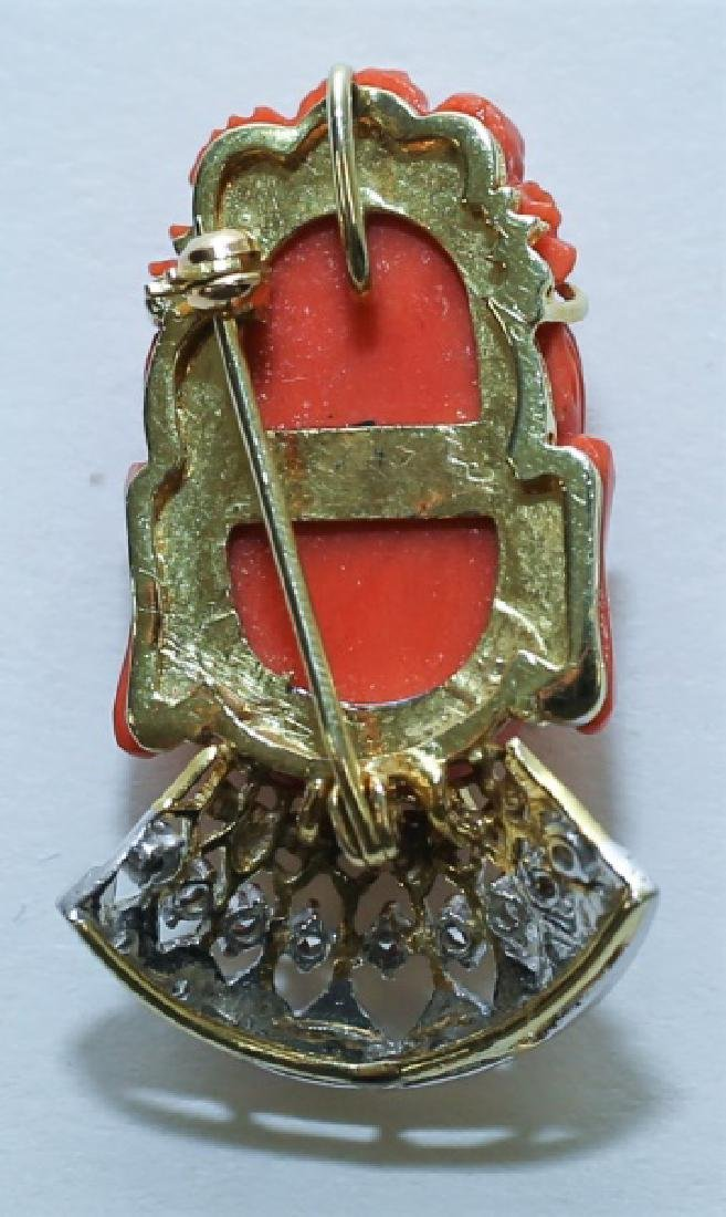 14K Gold Diamond & Red Coral Buddha Pendant Pin - 3