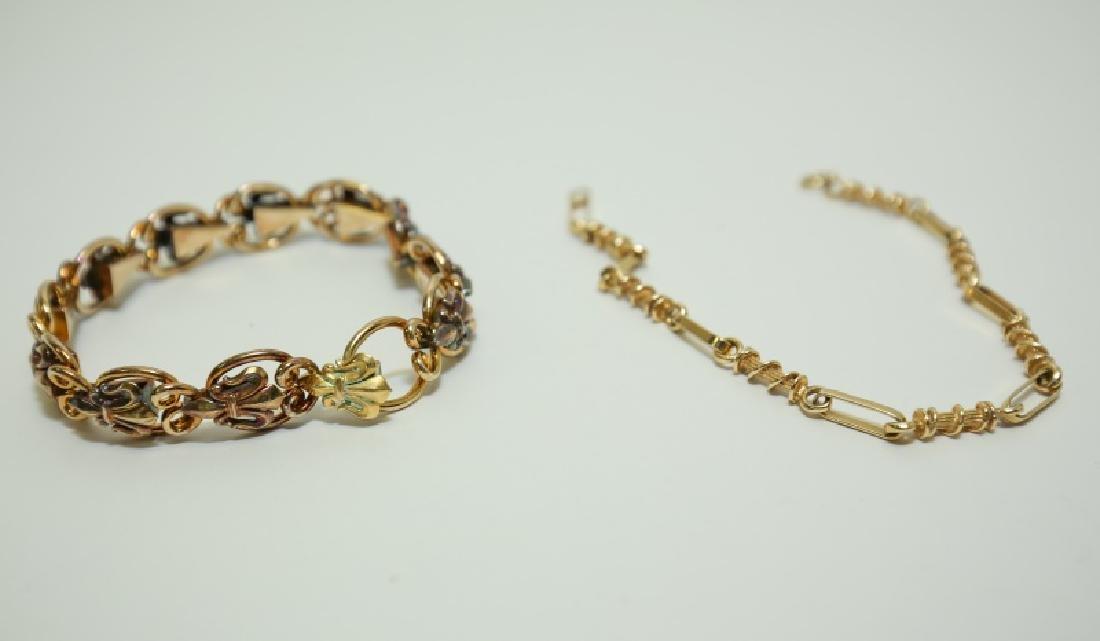 (2) Vintage 15K & 14K Gold Link Bracelets