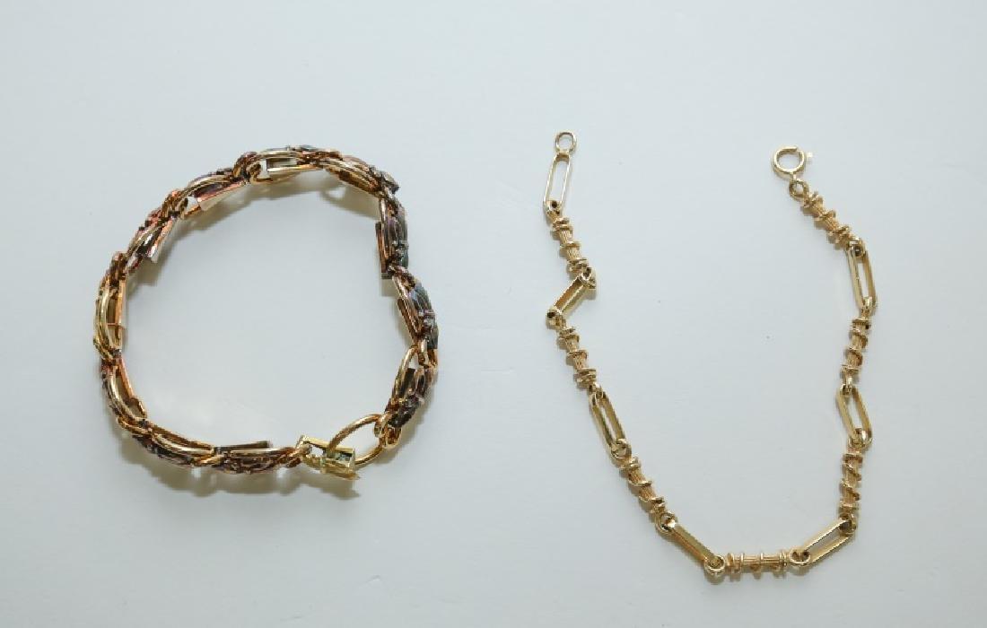 (2) Vintage 15K & 14K Gold Link Bracelets - 3