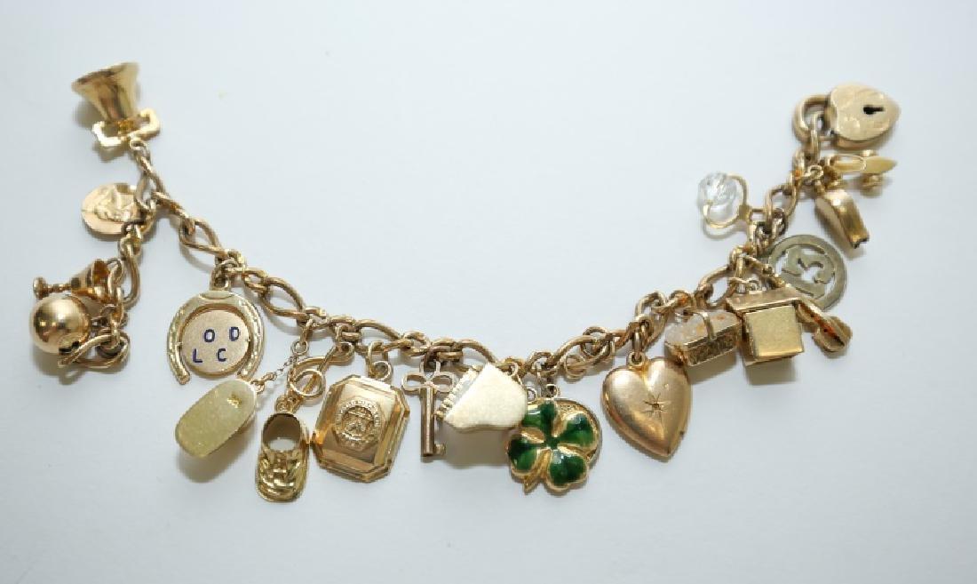 14K Gold Charm Bracelet w 10K & 14K Gold Charms
