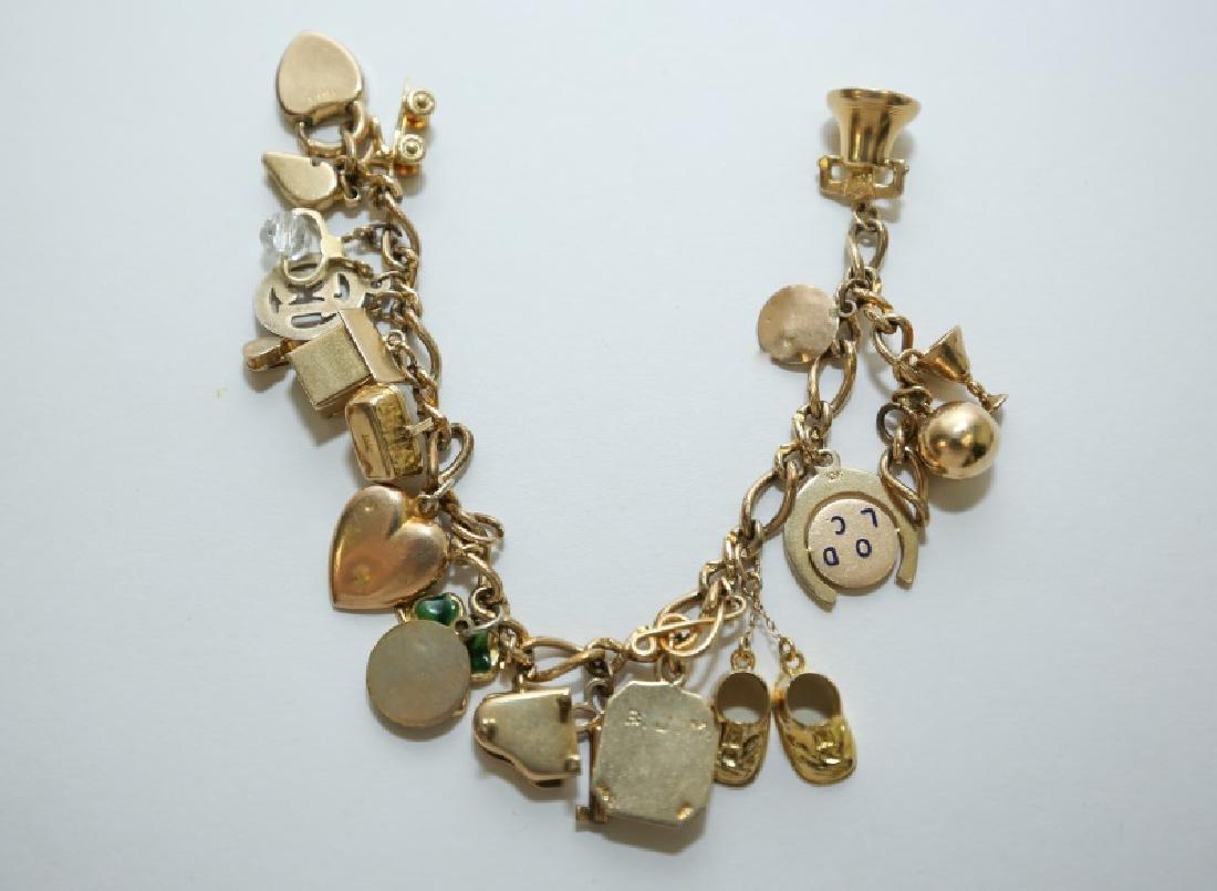 14K Gold Charm Bracelet w 10K & 14K Gold Charms - 2