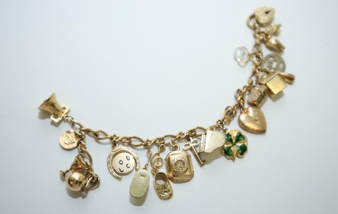 14K Gold Charm Bracelet w 10K & 14K Gold Charms - 3