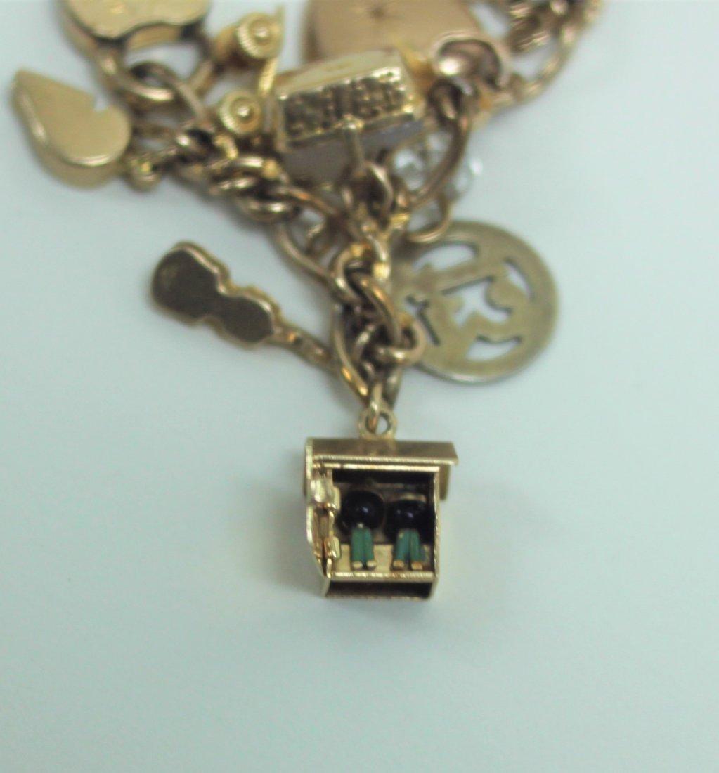 14K Gold Charm Bracelet w 10K & 14K Gold Charms - 5