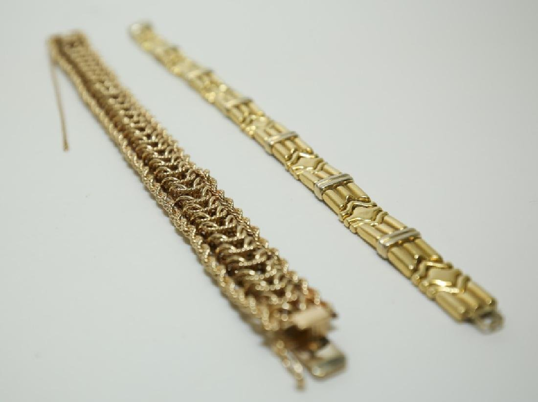 2)14K Gold Bracelets Geometric Link & Braided Rope