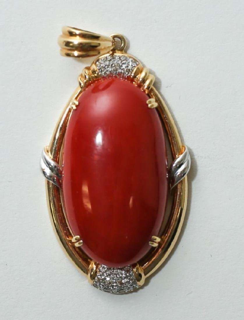 Vintage 18K Gold, Diamond Red Coral Pendant