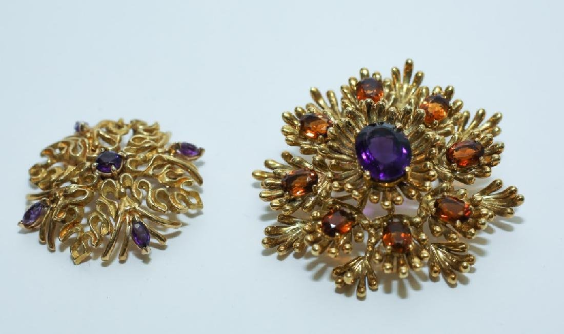 (2) MCM Italian18K Gold & Amethyst Floral Pendants