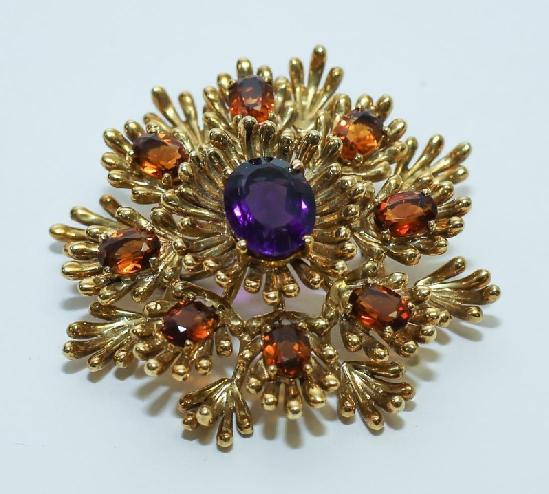(2) MCM Italian18K Gold & Amethyst Floral Pendants - 2