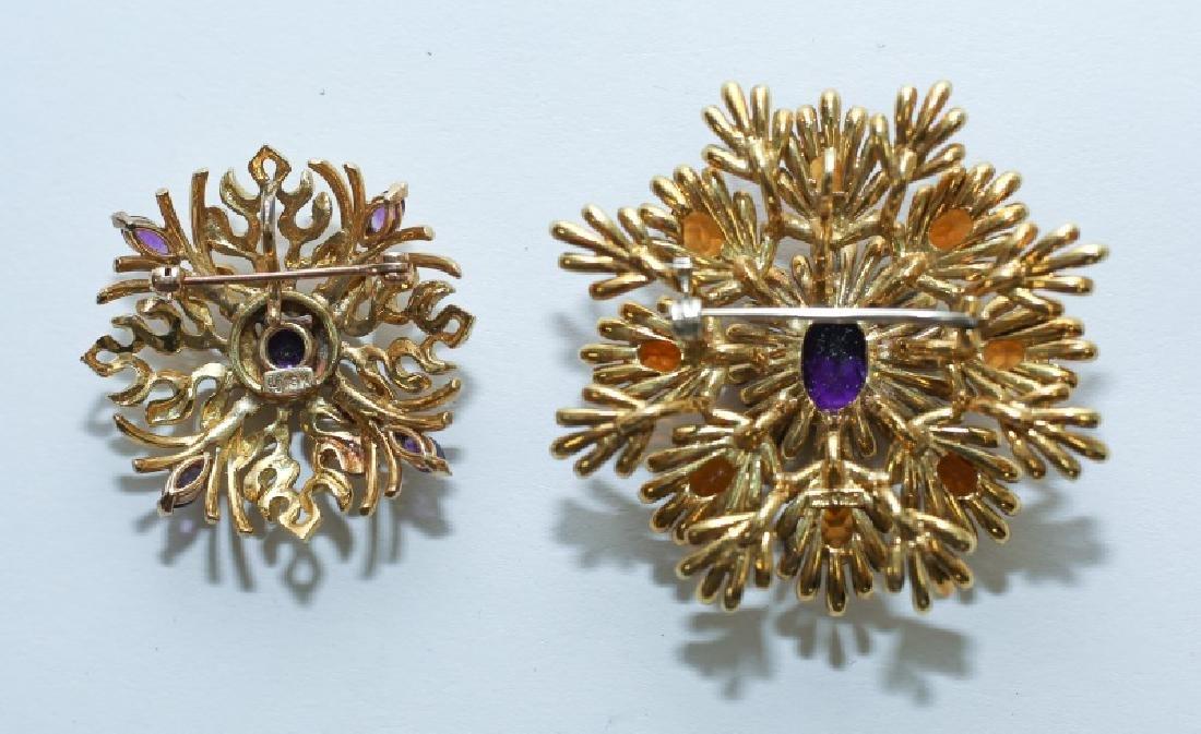 (2) MCM Italian18K Gold & Amethyst Floral Pendants - 3