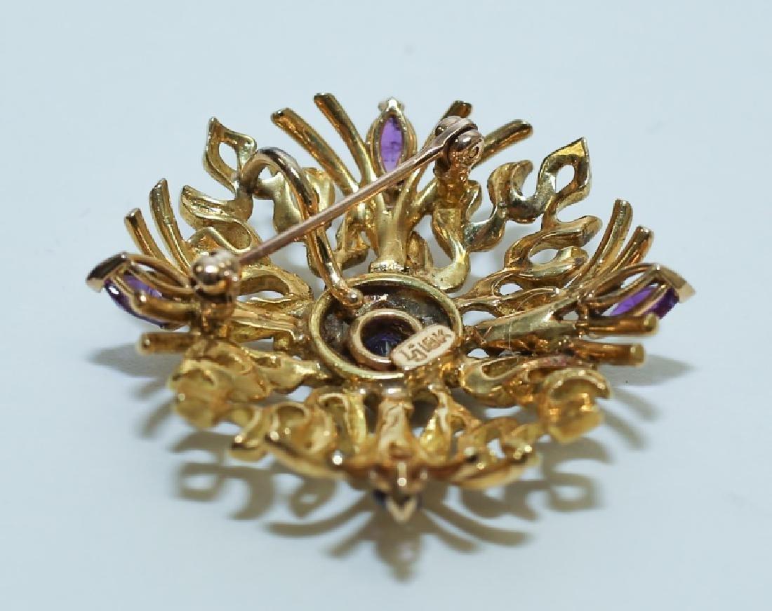 (2) MCM Italian18K Gold & Amethyst Floral Pendants - 4