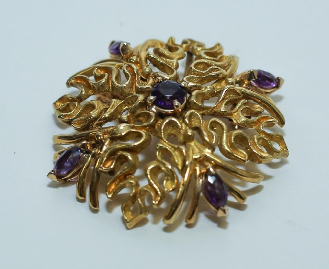(2) MCM Italian18K Gold & Amethyst Floral Pendants - 5