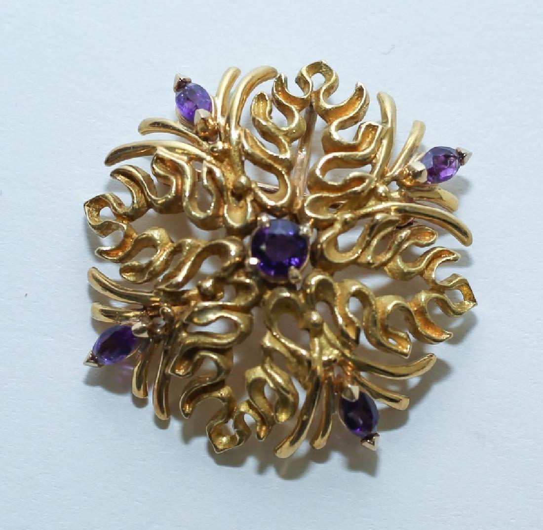 (2) MCM Italian18K Gold & Amethyst Floral Pendants - 6