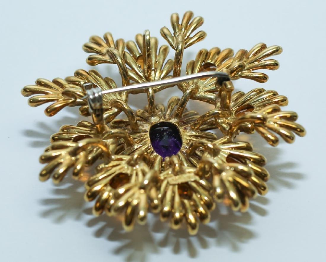 (2) MCM Italian18K Gold & Amethyst Floral Pendants - 7