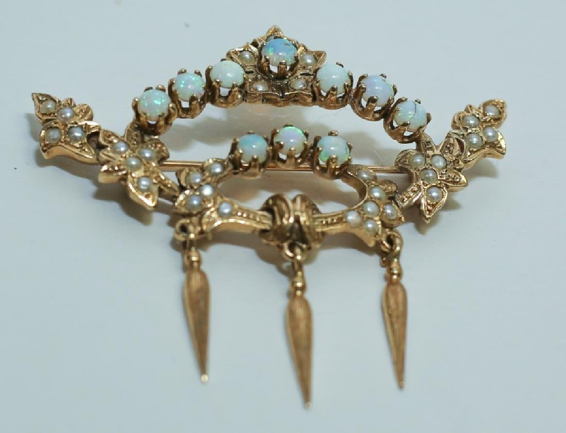 14K Gold Crown Pin Mounted w White Opals & Pearls