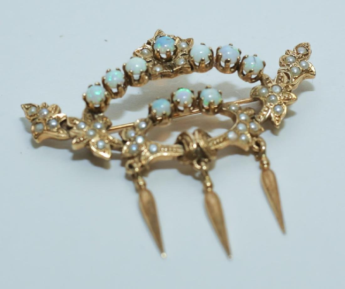 14K Gold Crown Pin Mounted w White Opals & Pearls - 2