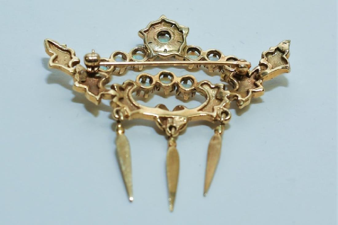 14K Gold Crown Pin Mounted w White Opals & Pearls - 3