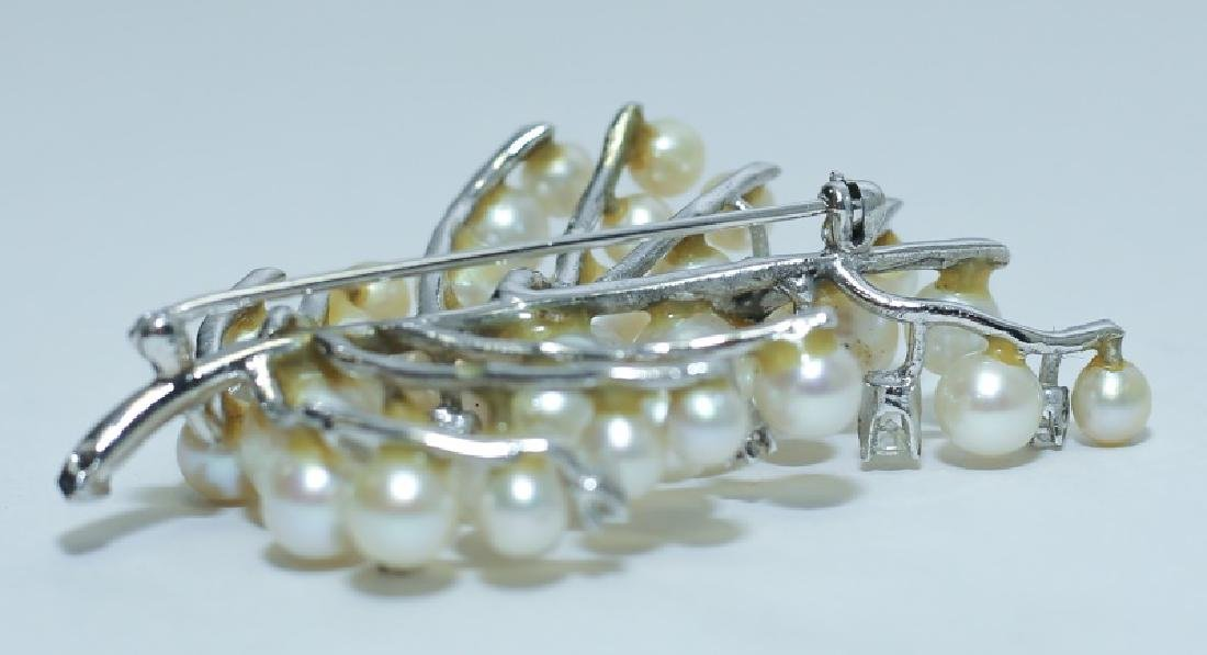 14K White Gold, Diamond & Pearl Tree Form Brooch - 4