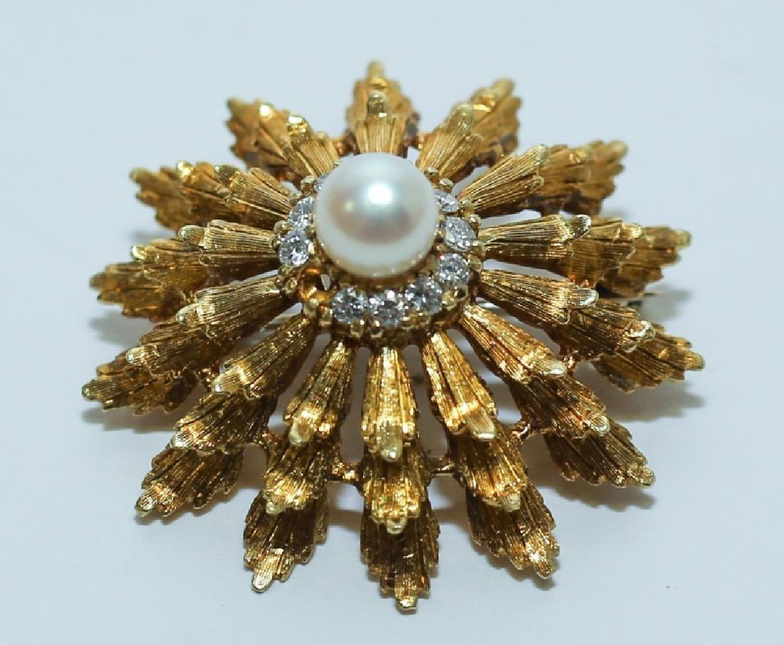 18K Gold Diamond & Pearl Hollywood Regency Brooch