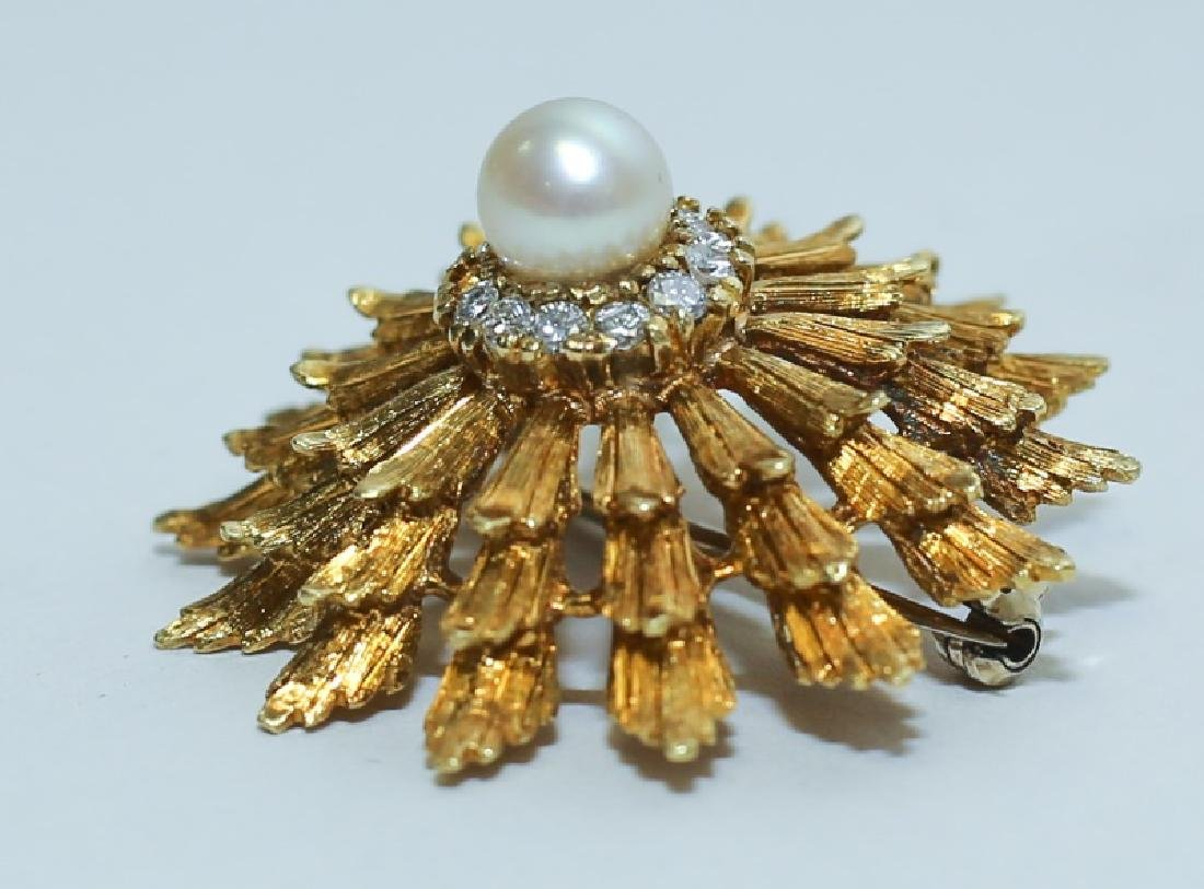 18K Gold Diamond & Pearl Hollywood Regency Brooch - 2