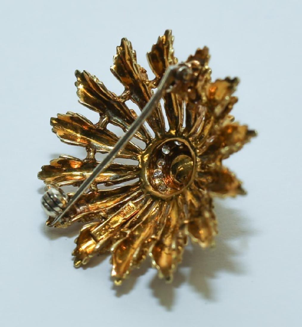 18K Gold Diamond & Pearl Hollywood Regency Brooch - 3