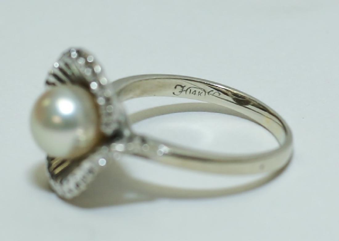 Vintage 1960's 14K White Gold & Pearl Ladies Ring - 5