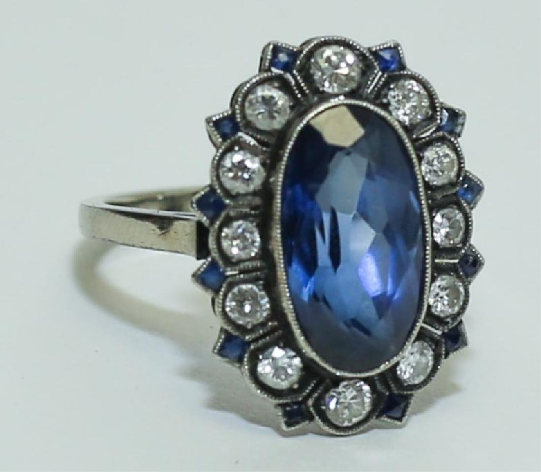 Edwardian 14K White Gold Sapphire & Diamond Ring