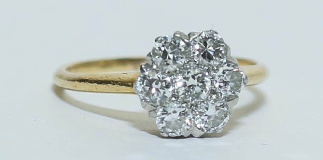 1 Carat Diamond Cluster & 18k Gold Cocktail Ring