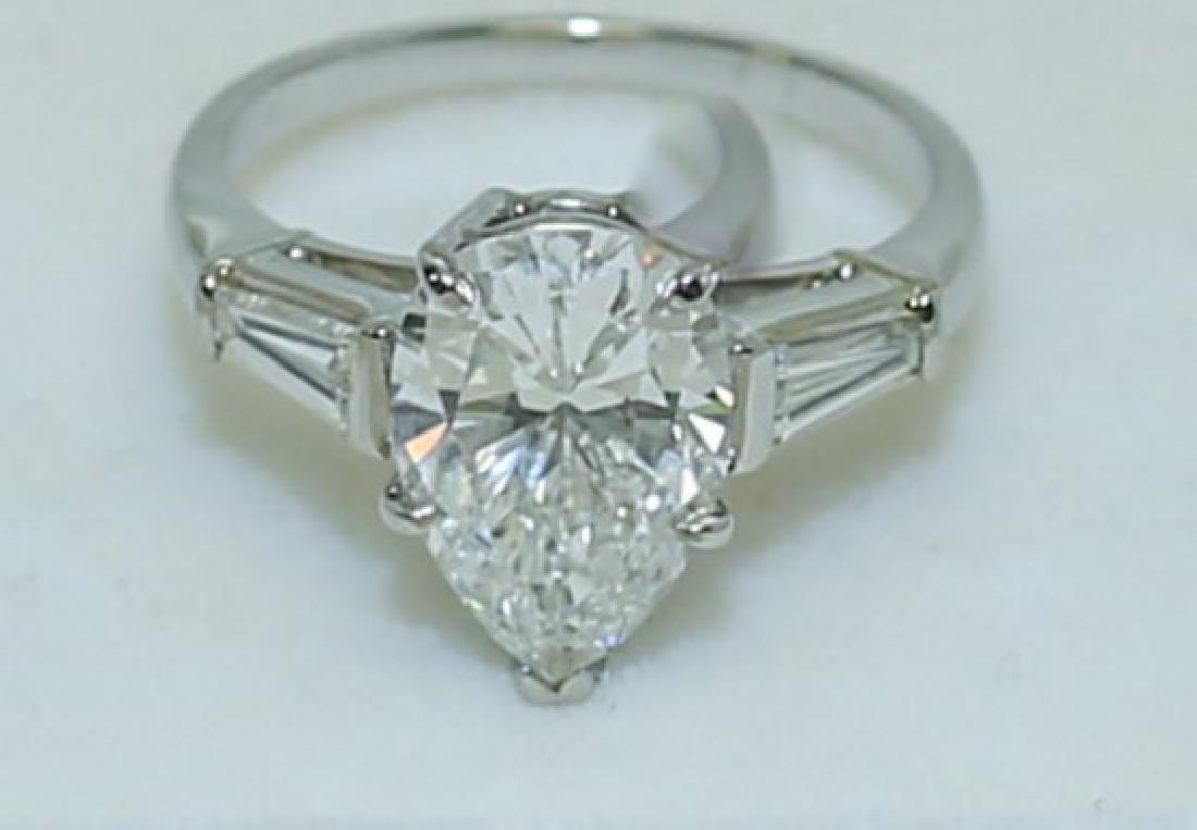 3.1 Carat GIA Report 6187079656 VS2 E Pear Diamond Ring