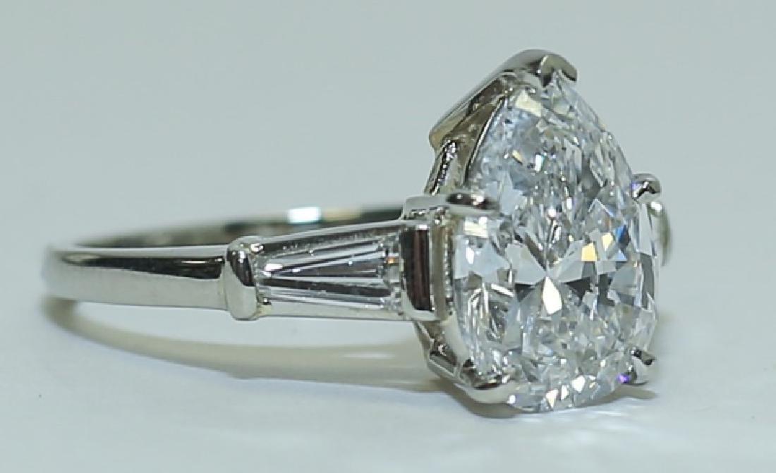 3.1 Carat GIA Report 6187079656 VS2 E Pear Diamond Ring - 2