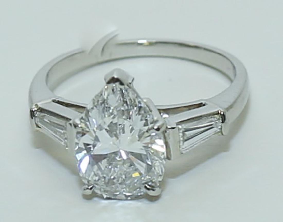 3.1 Carat GIA Report 6187079656 VS2 E Pear Diamond Ring - 3