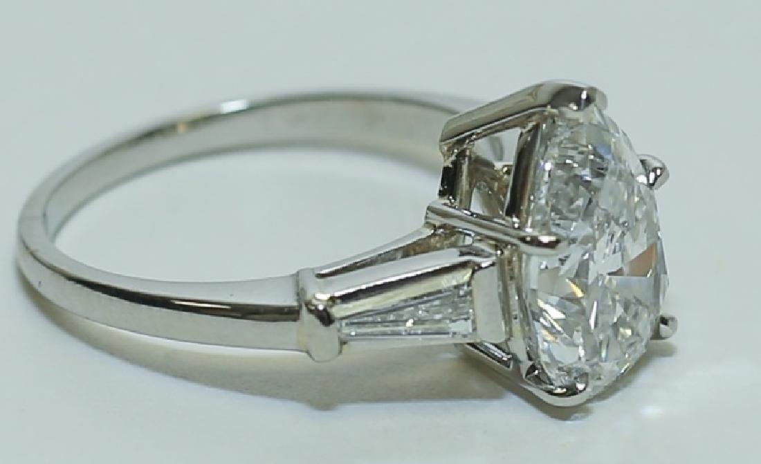 3.1 Carat GIA Report 6187079656 VS2 E Pear Diamond Ring - 4
