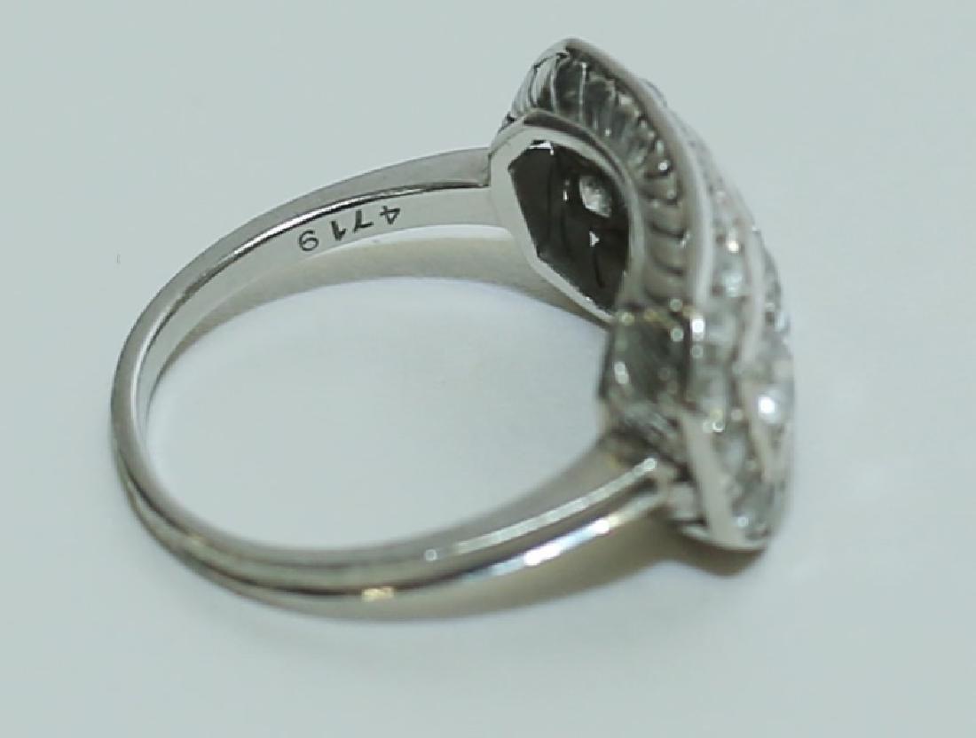 Art Deco Platinum & Diamond Ladies Cocktail Ring - 3
