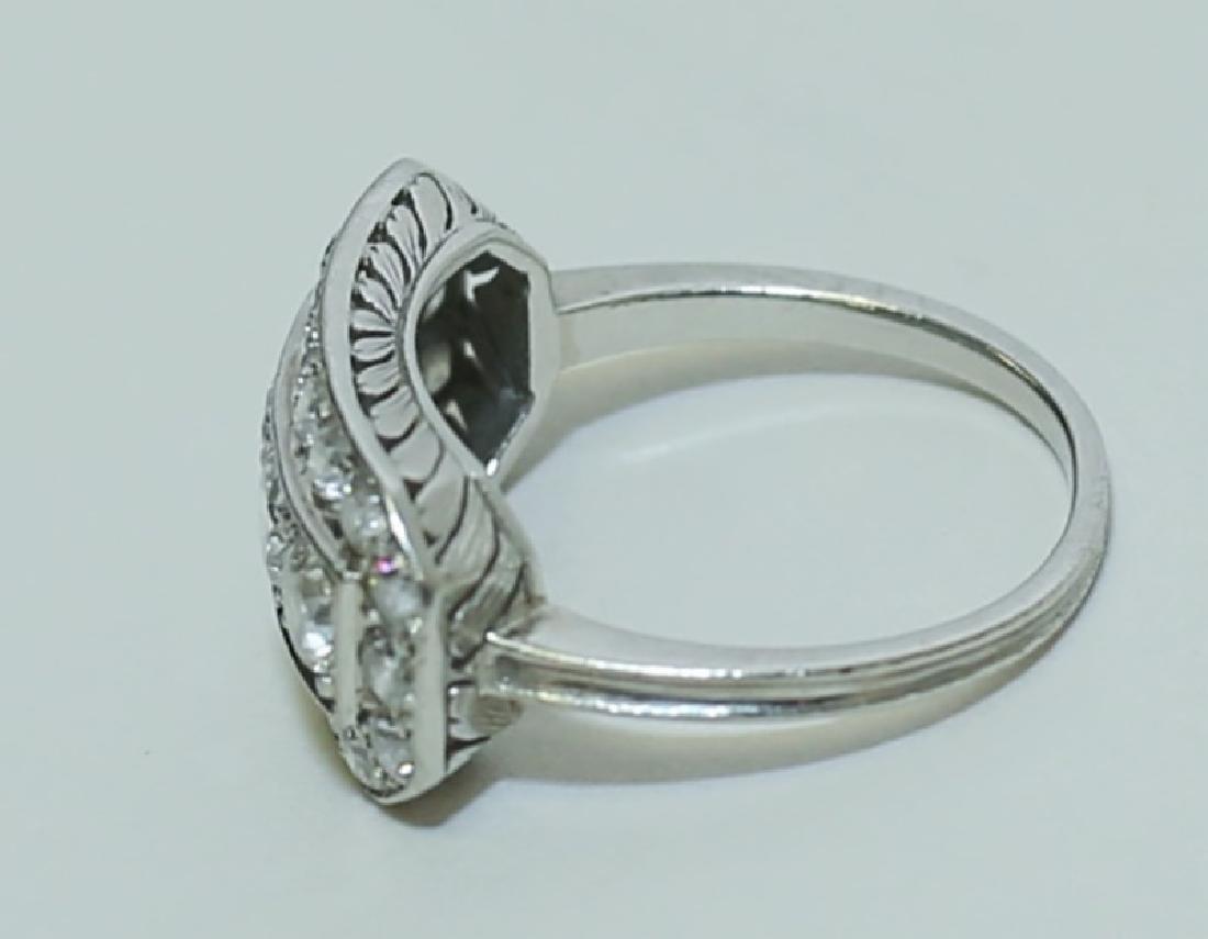 Art Deco Platinum & Diamond Ladies Cocktail Ring - 4