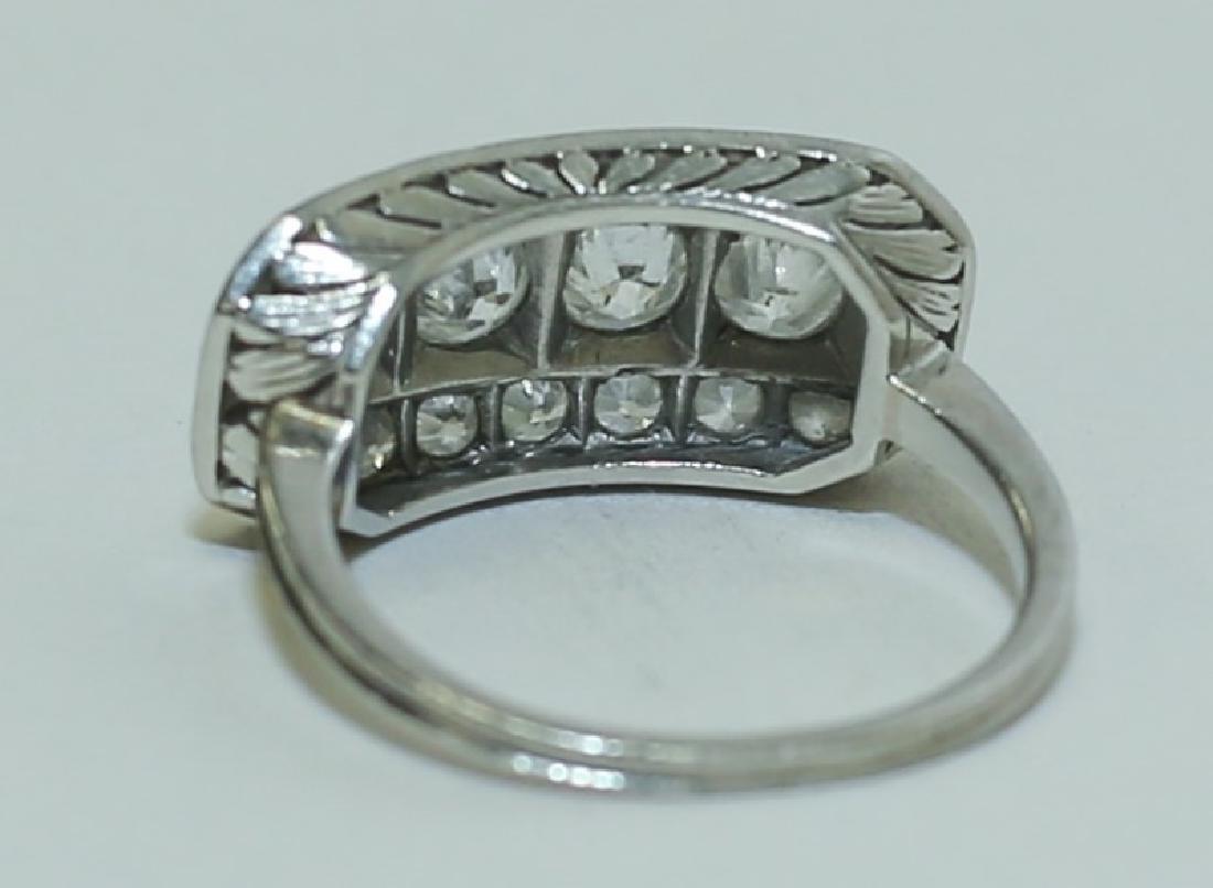 Art Deco Platinum & Diamond Ladies Cocktail Ring - 6
