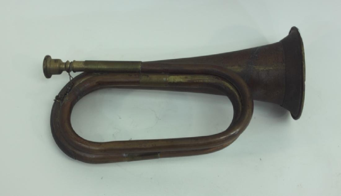 WWI Copper and Brass Military Bugle - 2
