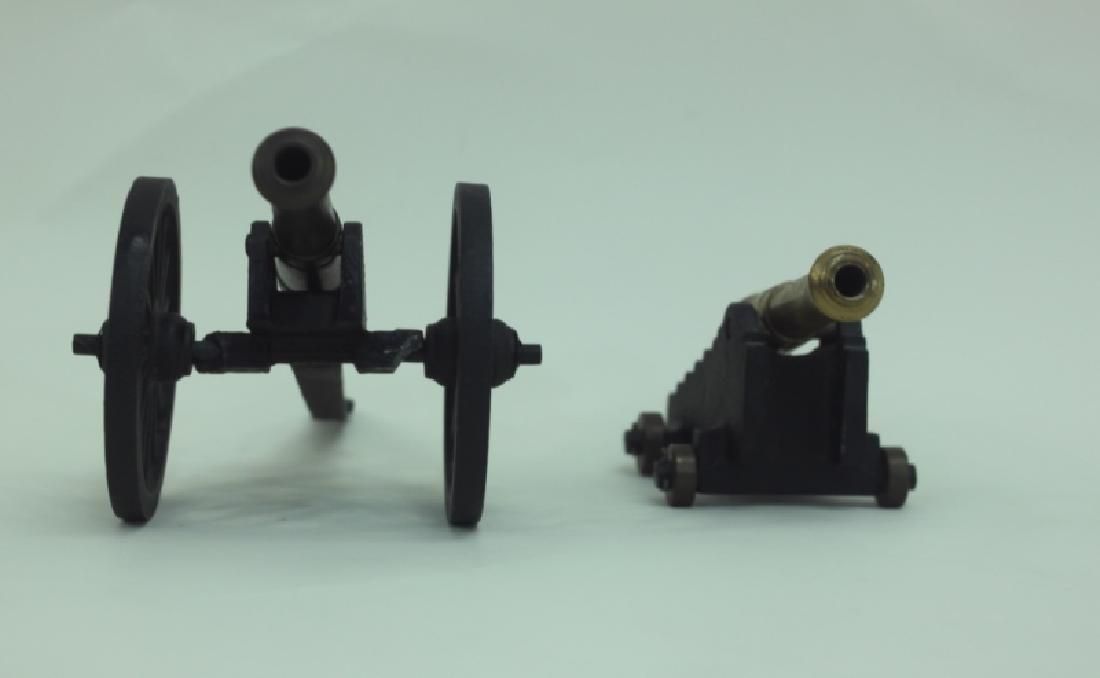 Civil War Brass Cannon Models Cast Iron Carriages - 2