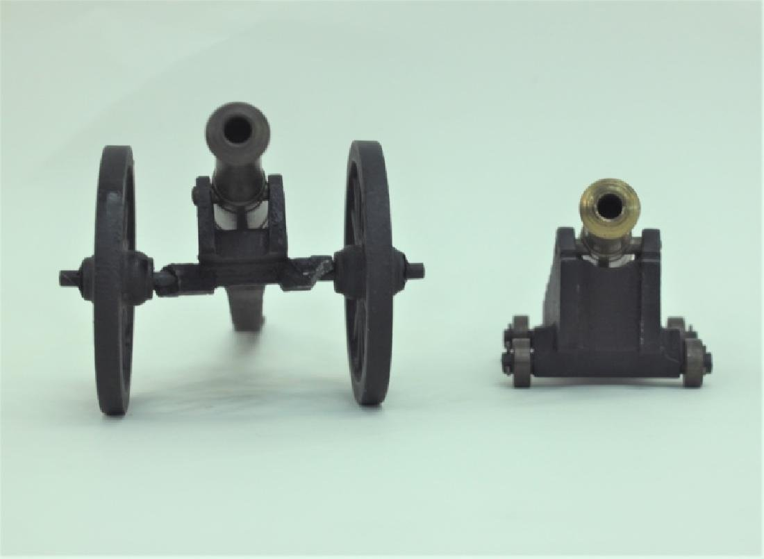 Civil War Brass Cannon Models Cast Iron Carriages - 3