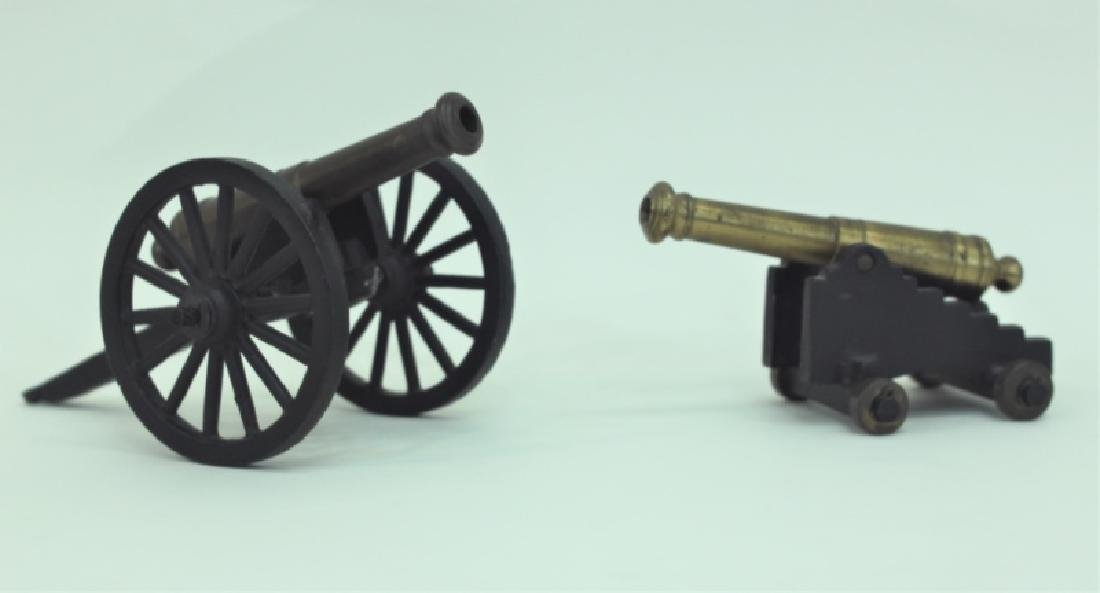 Civil War Brass Cannon Models Cast Iron Carriages - 4
