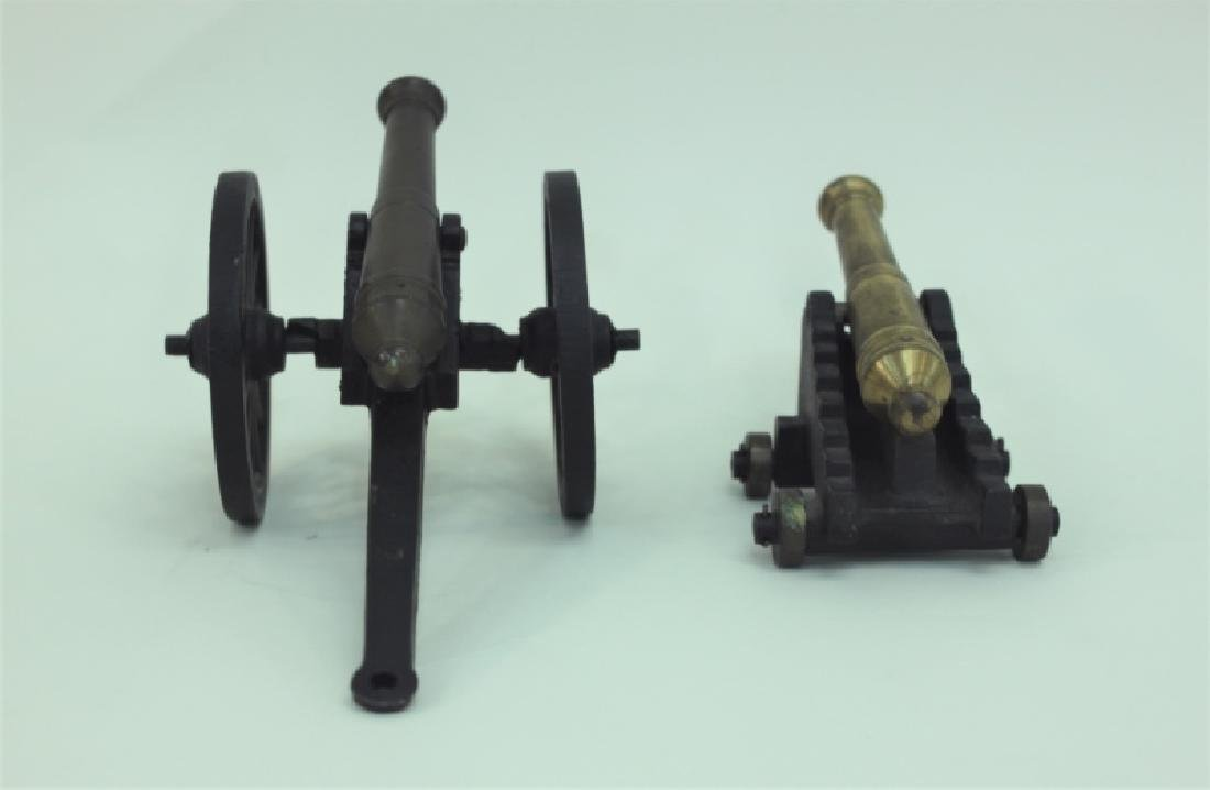 Civil War Brass Cannon Models Cast Iron Carriages - 5