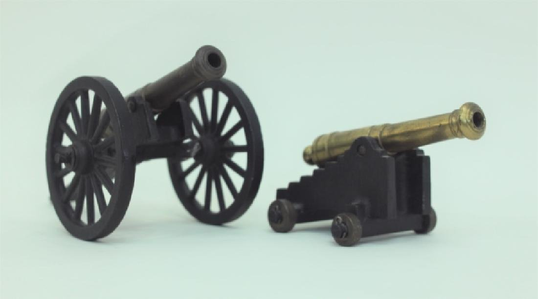 Civil War Brass Cannon Models Cast Iron Carriages - 7