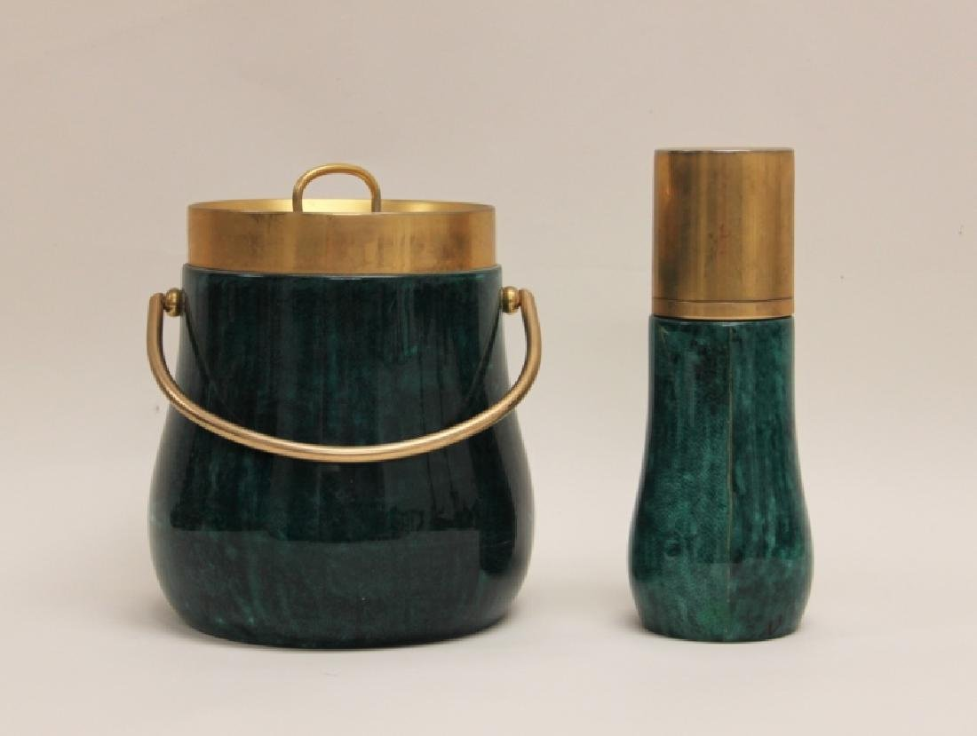 Aldo Tura Goat Skin Ice Bucket & Cocktail Shaker