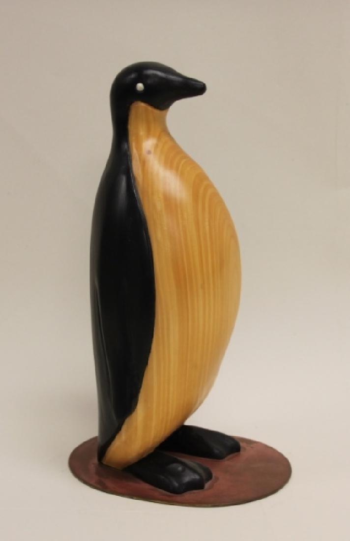 Vintage Carved & Painted Wooden Penguin on Plinth