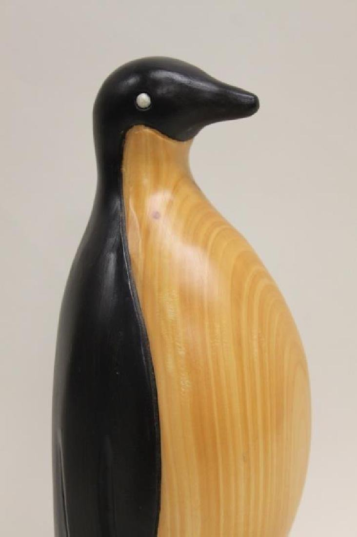 Vintage Carved & Painted Wooden Penguin on Plinth - 2