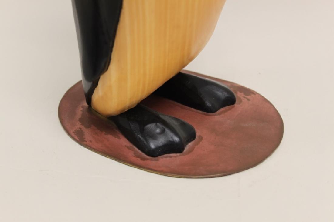 Vintage Carved & Painted Wooden Penguin on Plinth - 3