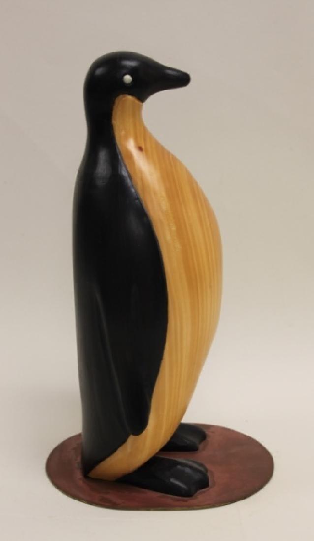 Vintage Carved & Painted Wooden Penguin on Plinth - 4