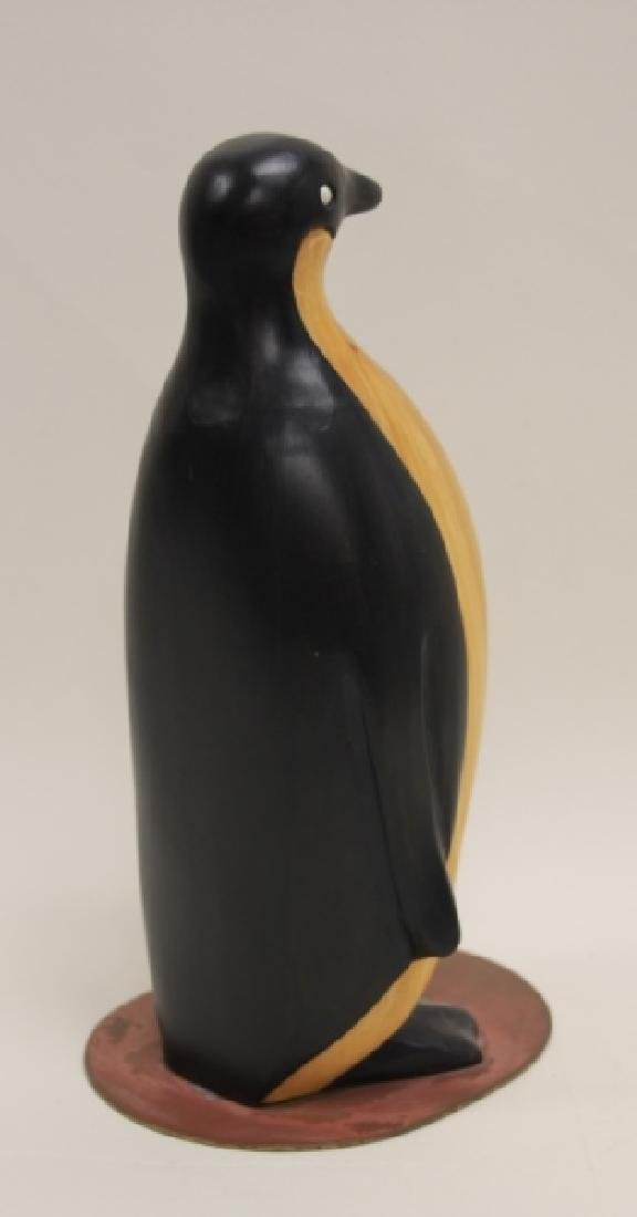 Vintage Carved & Painted Wooden Penguin on Plinth - 5