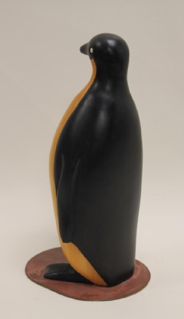 Vintage Carved & Painted Wooden Penguin on Plinth - 6