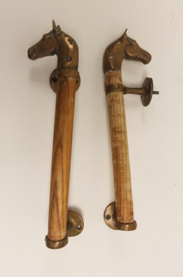 Pair Door Pulls / Handles w Cast Brass Horse Heads